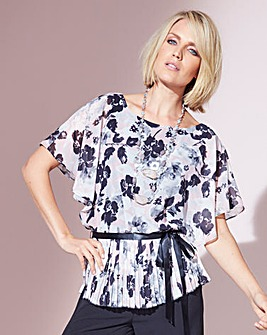 Nightingales Pleated Peplum Blouse