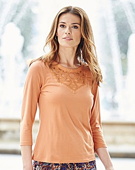 Nightingales Jersey Top With Lace Insert