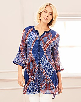 Pleated Printed Chiffon Blouse
