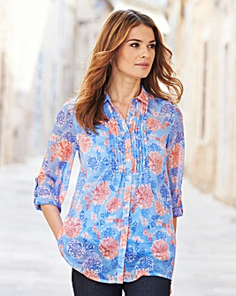 Nightingales Print Chiffon Blouse