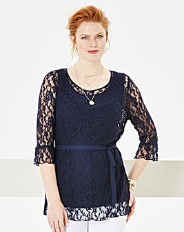 Nightingales Stretch Lace Fluted Top
