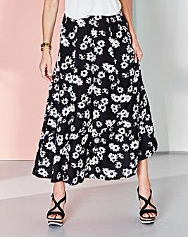 Daisy Print Linen Mix Skirt 33in