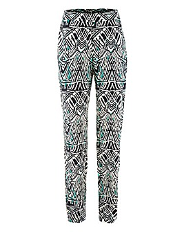 Woven Print Tapered Trousers