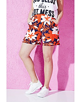 Floral Print Jersey Shorts