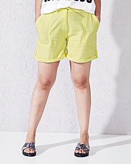 Linen-Mix Tie-Waist Shorts