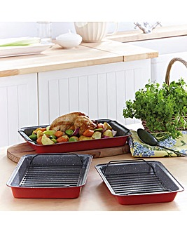 Stone Ceramic Roasting Tin with Rack 3 P