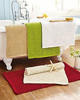 Chenille Bobble Bathmat Pack of 2