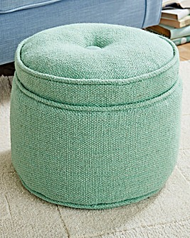 Wool Covered Footstool With Button