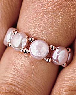 Pearl Stretch Ring Pink Pack 2