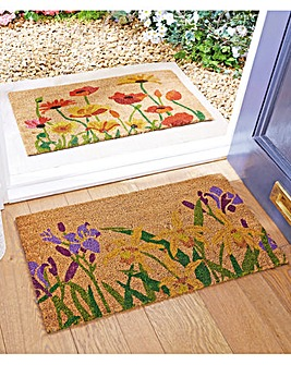 Poppy and Iris Pack of Coir Doormats
