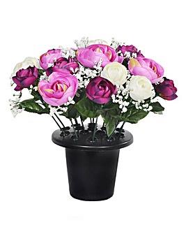 Ranunculus Grave Bouquet and Pot