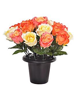Artificial Rose Grave Bouquet and Pot