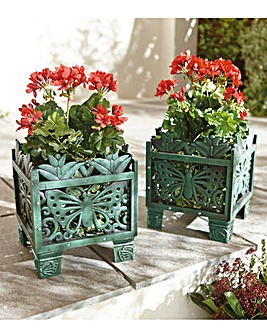 Butterfly Square Planters Set of 2