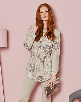 Floral Printed Tunic with Tie Wasit