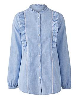 Blue/White Ladder Trim Frill Shirt