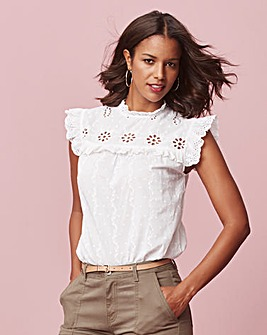 White Embroidered Yoke Blouse