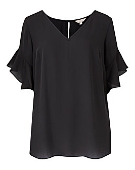 Shell Top With Fluted Sleeve
