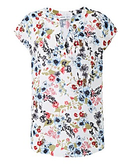 Ivory Print V Neck Ladder Insert Top