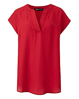 Cranberry V Neck Ladder Insert Top