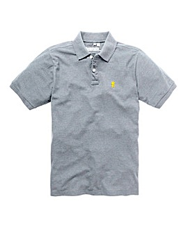 Capsule Grey Marl Embroidered Polo Long