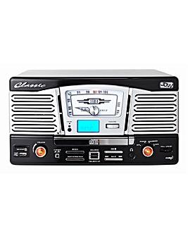 Retro Turntable with CD MP3 Radio -Black