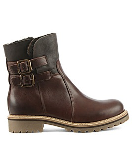 Daniel Brown Shearling Cuff Ankle Boot