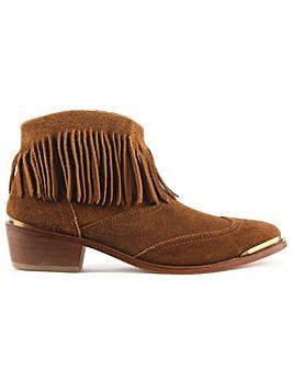 Hudson Suede Fringe Western Ankle Boot