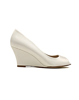 Perfect Flora Satin Peep Toe Wedge