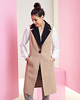Sleeveless Wool Like Coat