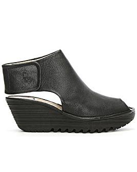 Fly London Black Backless Wedge Sandal
