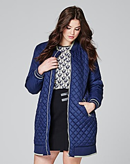 Longline Quilted Bomber Jacket