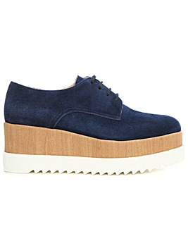 Daniel Navy Gold Lace Up Flatform Shoe