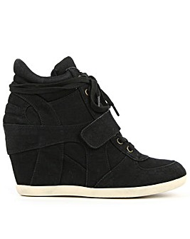 Ash Black Denim Wedge High Top Trainers