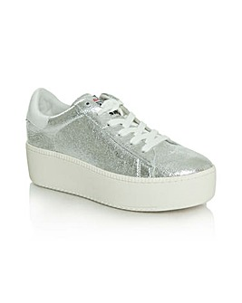 Ash Silver Leather Chunky Sole Trainer
