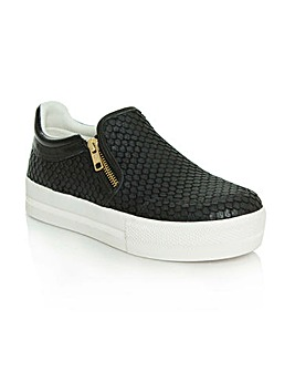 Ash Leather Reptile Chunky Sole Trainer