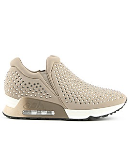 Ash Taupe Neoprene & Gemstone Trainer