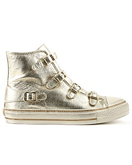 Ash Gold Leather High Top Trainer