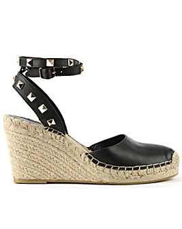 Ash Black Studded Wedge Espadrille