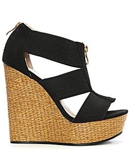 Daniel Front Zip Woven Wedge Sandal