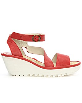 Fly London Red Leather Wedge Sandal