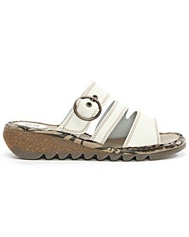Fly London White Leather Low Wedge Mule