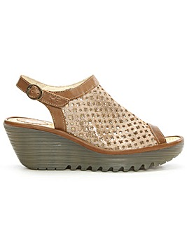 Fly London Gold Perforated Wedge Sandal
