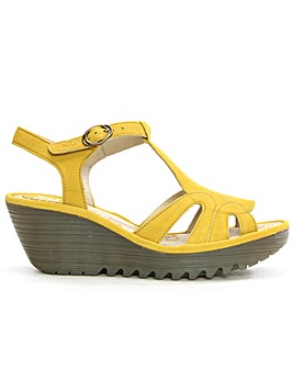 Fly London Leather T Bar Wedge Sandal