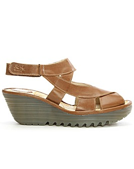 Fly London Cross Over Strap Wedge Sandal