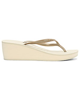 Havianas Gold Wedge Toe Post Flip Flop