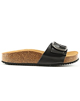 Daniel Saxton Black Leather Mule Sandal