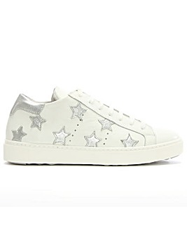 Daniel White Leather Star Motif Trainer