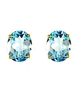 9ct Y/G Blue Topaz Earrings