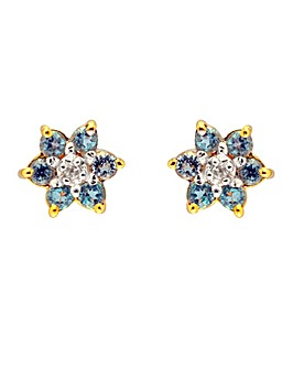 9ct Blue Topaz & Dia Earrings