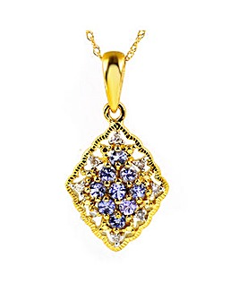 9ct Y/G Tanzanite & Diamond Pendant